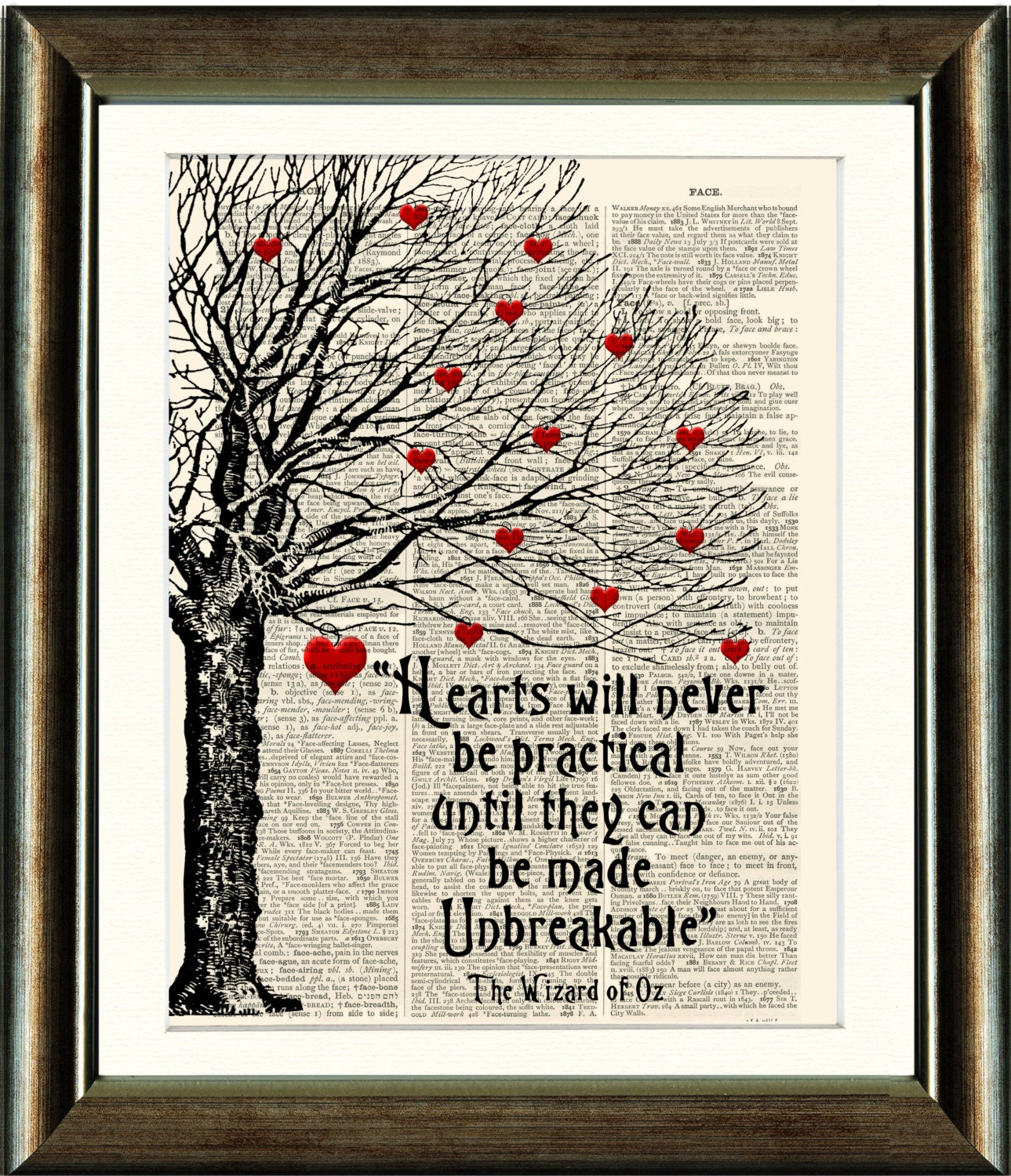 Wizard Of Oz Love Quotes Wizard Of Oz Heart Quote Vintage Book Page Print Image On A