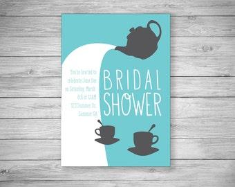 Tea Pot Bridal Shower Invitation - Set of 20 - Envelopes Included