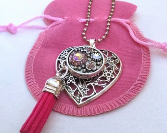 Heart Purse Charm - Pretty Heart Handbag Tag - Purse Accessory - Gift for Her - Heart Charm - Interchangeable Rhinestone Heart, Pink Tassel