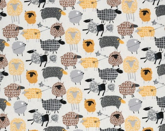 Hokkoh Tahti Japanese fabric - kawaii sheep in oxford cotton - 1/2 YD