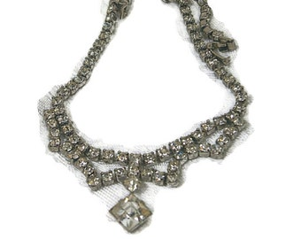 Clear Rhinestone Choker Necklace,  Wedding Necklace, Bridal Choker, Vintage Necklace, 1950's