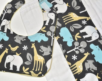 Baby Burp Cloth Set Diaper Baby Bib Boy Elephants Animals Baby Gift Set Burp Rag Burpcloth, Baby Items