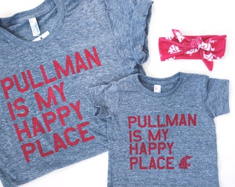 "UNISEX WSU COUGARS ""Pullman is my Happy Place"" T-Shirt"