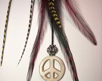 PEACE Feather Roach Clip »PEACE Feathers »Hair Feathers » Roach Clip » Feather Extensions » Festival Fashion » Coachella » Burning Man