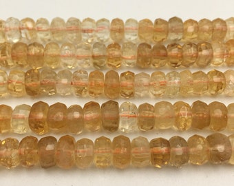 """Natural Citrine Faceted Rondelle Gemstone Loose Beads Size 8x10mm Approx 15.5"""" Long per Strand"""