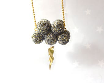"""Storm necklace with cloud and lightning- """"little storm""""-gray crochet cloud"""