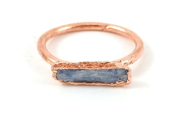 Raw Stone Ring, Kyanite Ring, Raw Crystal, Electroformed Ring, Copper Ring, Blue Gemstone, Stackable, Stacking Ring, Healing, One of a Kind
