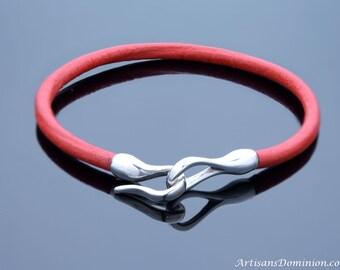 Sterling Silver Hook Bracelet, Womens Leather Bracelet, Mens Sterling Silver Bracelet, Womens Red Leather Bracelet, Womens Silver Bracelet