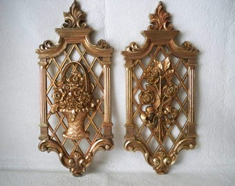 1970s Vintage Pair of Gold Wall Decor Plaques made by Syroco in USA featuring floral designs- basket arrangement and bouqeut