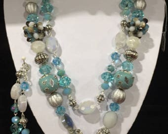 Teal and Silver Necklace, Bracelet, and Earrings Set
