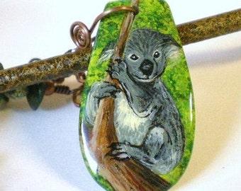 Koala Bear Pendant, Hand Painted Koala Bear Necklace, Koala Bear Jewelry, Serpentine and Bone on Copper Chain Necklace, Australia Jewelry