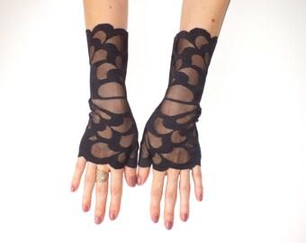 Lace gloves, Black Lace Gloves, Fingerless Gloves, Lace Gloves, Black Gloves, black arm warmers, Women lace gloves, everyday gloves, boho