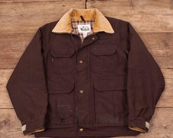 """Mens Vintage Woolrich Brown Workwear Jacket Coat Medium 40"""" R6738"""