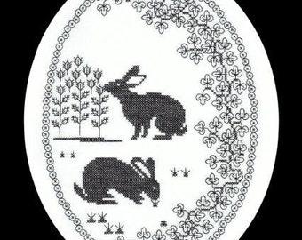 Cross-Stitch Meets Blackwork - Rabbits - Beginners Hand Embroidery Kit