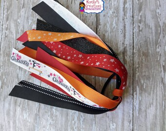 Gymnastic Ponytail Holder,Gymnastic Hair Bows,Gymnastic Bows,Red,Orange, and Black Gymnastic Ponytail Streamer,Gymnastic Ponytail Streamers.