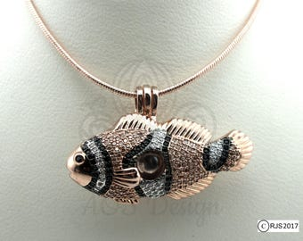 Pick A Pearl Cage Necklace Rose Gold Clownfish Fish Locket Charm Holds Beads Pearls Gems Crystal Accents Nemo