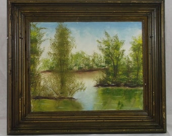 Vintage Oil Painting On Canvas Artist Jennie Cutshaw 1973 Forest Stream Scene