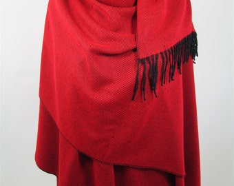 Outdoor Gift Red Poncho Scarf Blanket Scarf Winter Scarf Shawl Travel Gift Clothing Gift Holiday Christmas Gift For Her For Mom For Mom