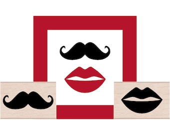 Lips and Mustache Rubber Stamp