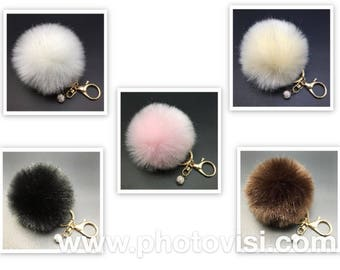 3.14in Rabbit Faux Fur Fluffy Pompom Ball Key Chain W Bling Crystal Bead For Handbag Pendant Charm Key Rings or Car 8CM-3.14'  Cruelty  Free
