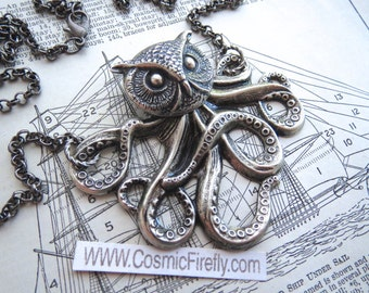 Owlctopus Half Owl Half Octopus Necklace Antiqued Silver Steampunk Necklace Gothic Victorian Monster Necklace Weird Jewelry Cosmic Firefly