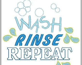 Wash Rinse Repeat Embroidery Onsie Baby download 4x4 hoop