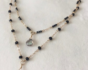 Gold, Black Spinel, and Labradorite Layered Necklace