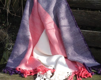 Stola, 100% Alpaca Wool Stola or Shawl, Handwoven , colours off white, pink & purple