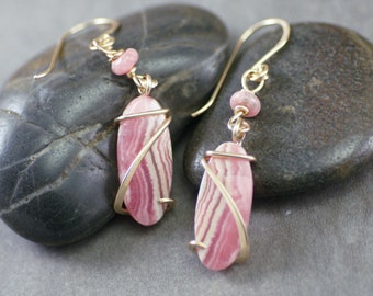 Rhodochrosite Oval Cold Forged Gold Filled Earrings