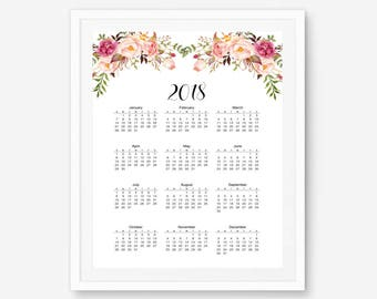Yearly calendar, 2018 yearly calendar, 2018 Wall Calendar, yearly planner, watercolor calendar, floral calendar, large calendar, 12 month