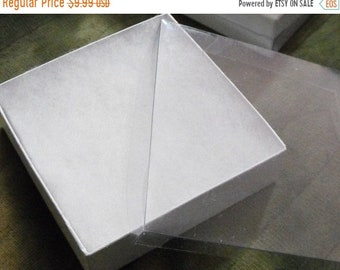 TAX SEASON Stock up 20 Pack 3.5X3.5X1 inch Clear Top White Foil Swirl Cotton Filled Jewelry Retail Gift Boxes
