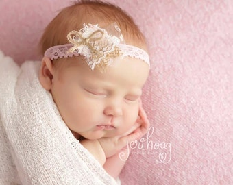 Noemi - Pink Cream Ivory Beige Tan Headband -  Vintage Style - Lace Burlap Twine - Girls Newborns Baby Infant Adults