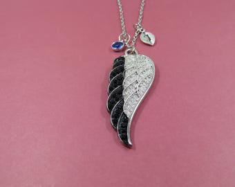 custom angel wing necklace - swarovski birthstone - letter personalized gift - angel wing necklace