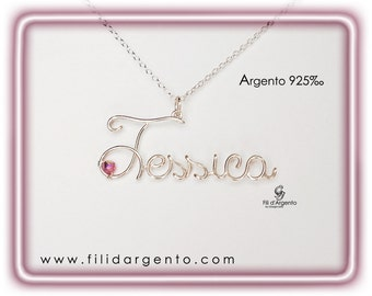 Pendants with Name in Sterling Silver 925 ‰ wire and Swarovski - Craft