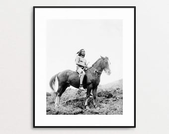The Old Time Warrior - Nez Percé - Edward Curtis Photography - Native American Print - Native American Wall Art - Horse - Vintage Photo