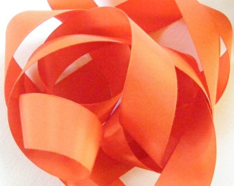 Vintage 1940's French Grosgrain Ribbon 1 7/16 Inch Iceland Poppy Orange