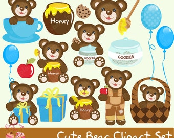 Cute Bear Clipart Set
