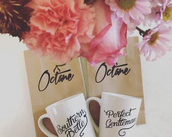 His and Hers Southern Charm Matching Mug Set: Southern Belle & Perfect Gentleman Mugs