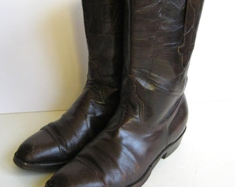 brown Lucchese Roper boots, 1980s leather short boots size 8-8.5 women's cowboy western