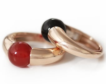 Red stone ring in rose gold  simple ring design, Solitaire Gemstone Ring, agate ring, minimalist ring  by Cadi jewelry