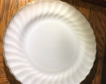 Anchor Hocking Fire King Milk Glass Dinner Plates