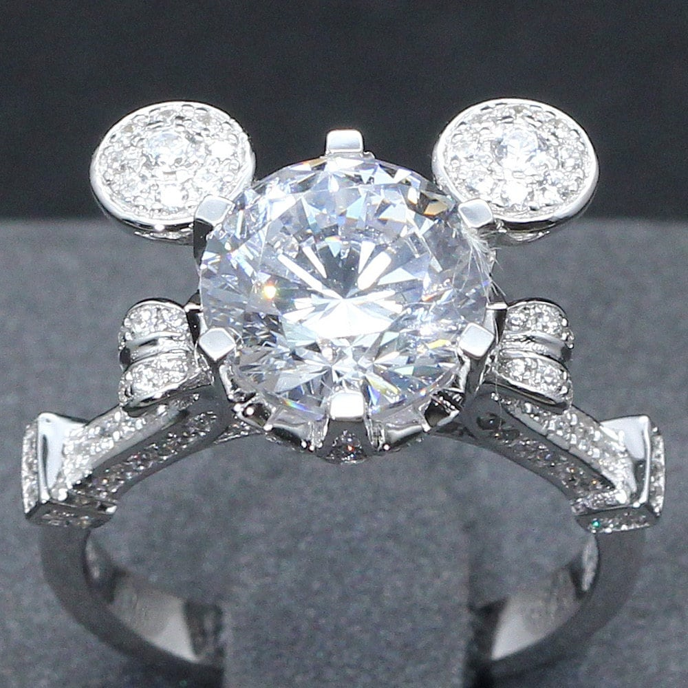 wedding rose silver cinderella sterling ctw ring enchanted diamond belle goldtone rings disney
