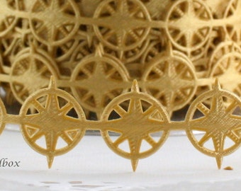"""Gold Nautical Compass Ribbon Trim,  3/4"""" wide by the yard"""