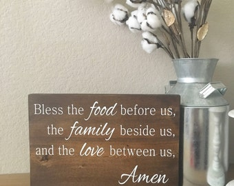 Bless the Food Before Us Sign - Dining Room DEcor - Farmhouse Decor - Kitchen Sign - Kitchen Decor - Prayer Sign