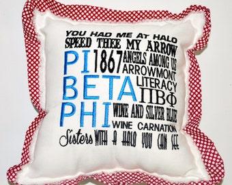Pi Beta Phi // Pi Phi // Sorority Embroidered Pillow // Greek Decor