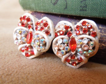 Vintage 60's Earrings, Peach and Red Rhinestone Clip on Earrings, Mid Century, Rockabilly, 50's Style