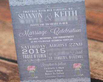 vintage lace wedding invitations | mason jar invites handmade in Canada by empireinvites.ca