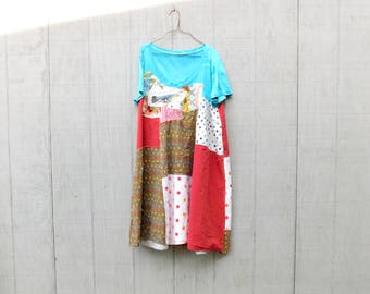 Tshirt Dress, Spring Dress, Plus Size Dress, Floral, Loose Fit, Upcycled Clothing, Summer Dress, Tunic, Upcycled Dress, Red, CreoleSha
