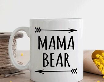 Mama bear mug, gift for new mom or mom to be, baby shower gift (M168)