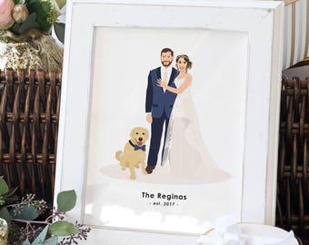 Wedding Portrait Illustration - Wedding Portrait Artwork - Illustrated Wedding Portrait